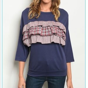 Tops - 💙🍷 NEW Super Cute Navy/Wine Ruffle Shirt